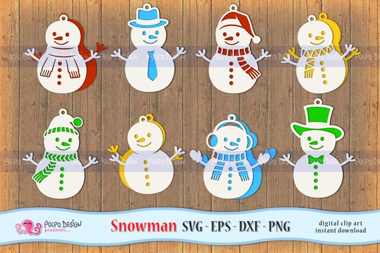 Snowman SVG, Eps, Dxf and Png. Winter Hanging Decor example image 1