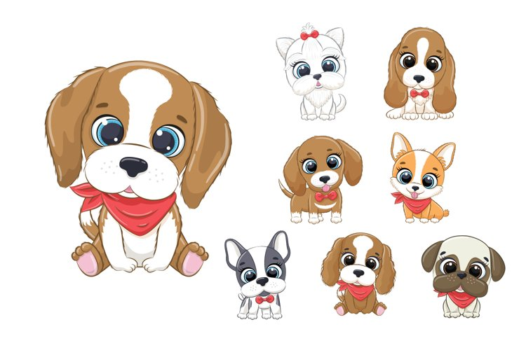 Cute Dog Clipart EPS, PNG, Pets Clipart, 300 DPI example image 1