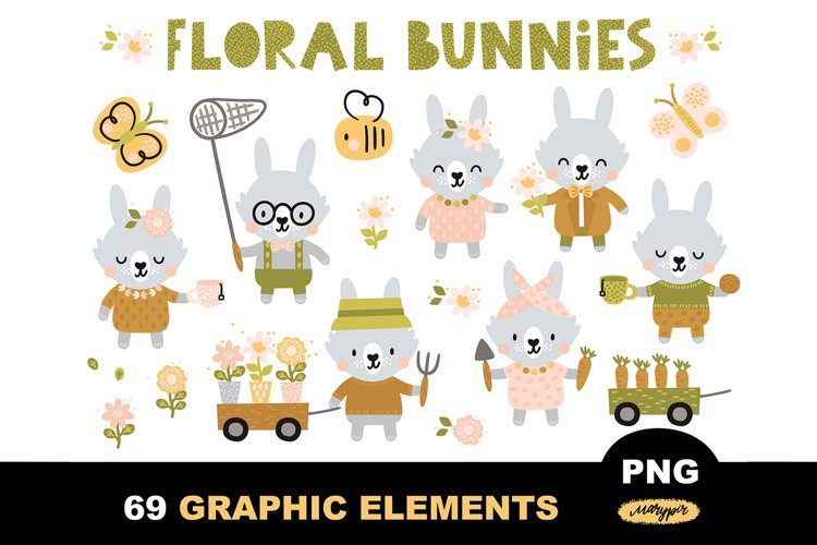 Boho clipart with cute bunnies characters and wild flowers