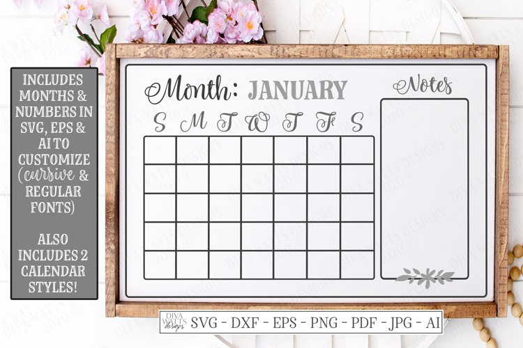 Calendar - SVG DXF - Monthly Farmhouse - Chalkboard Sign EPS example image 1