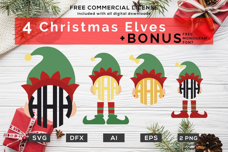Christmas Elf SVG - Christmas Monogram SVG Bundle example image 1
