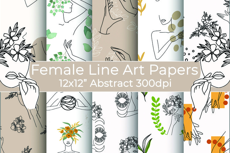 Female Line Art, Face, Hands Seamless 12x12 Papers
