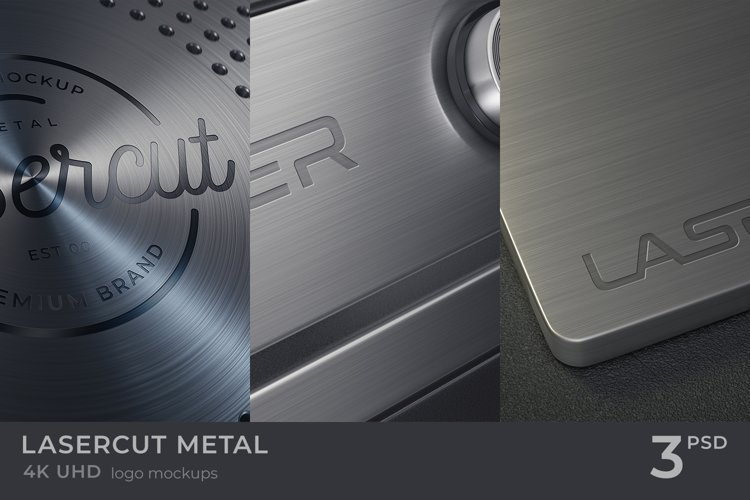Lasercut Metal Logo Mockups