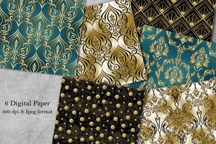 Damask seamless pattern collection. Digital Paper. Victorian example image 1