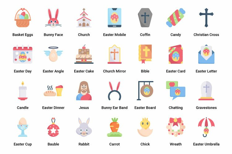 Happy Easter Day Flat and Colorful