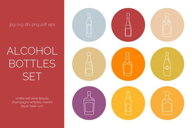 Alcohol bottles set in line art style. Bar menu example image 1