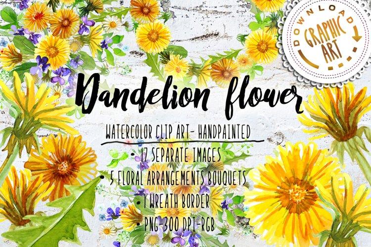 Summer Dandelion Clipart Watercolor  example image 1