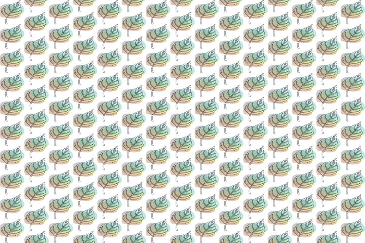 One Line Vector Tropical Leaves Pattern.
