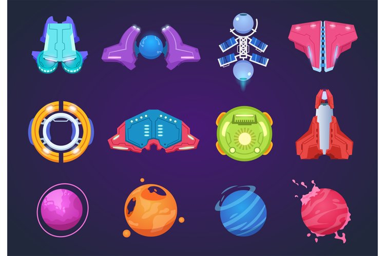 Cartoon space icons. Spaceships alien planets ufo aerospace example image 1
