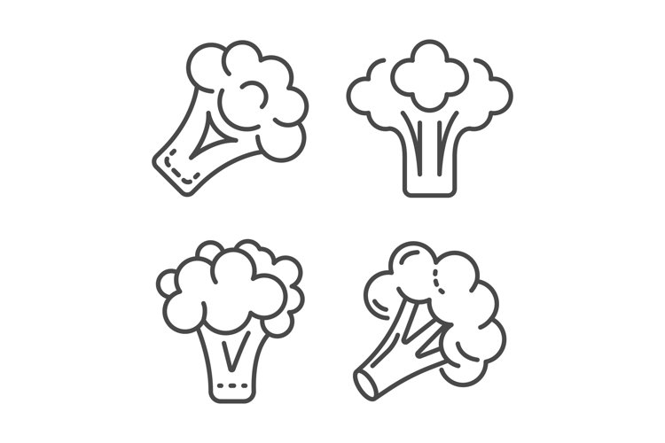 Broccoli cabbage icon set, outline style example image 1