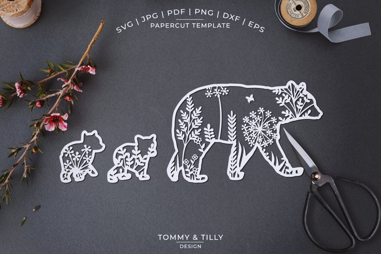 Mama Bear Meadow Animal - Papercut Template SVG EPS DXF P