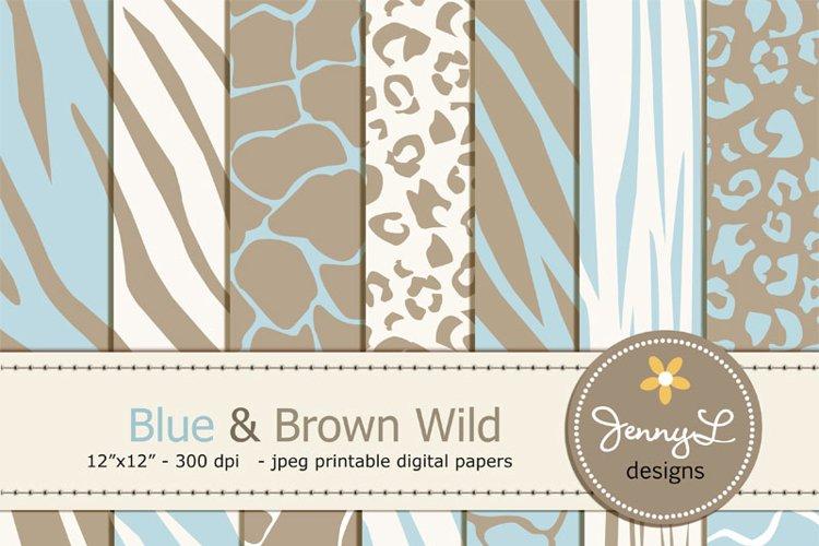 Blue and Brown Animal Print Digital papers, Baby Boy Safari, Zebra, Tiger, Giraffe, Leopard Print  example image 1
