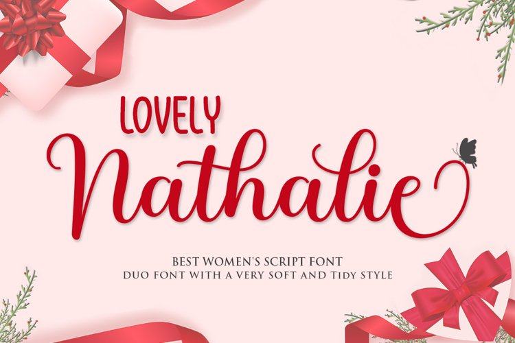 Lovely Nathalie Script Font DUO example image 1