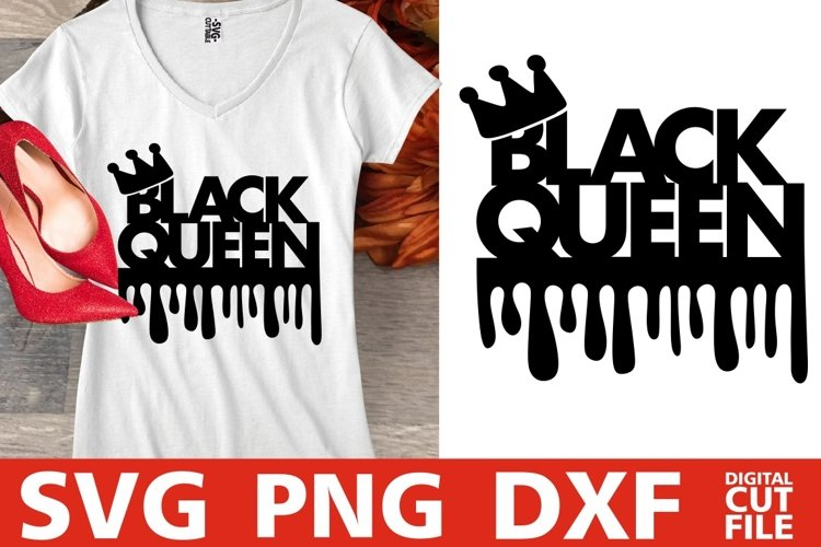 Black queen svg, Black Girl Magic, Dripping words, Afro girl example image 1