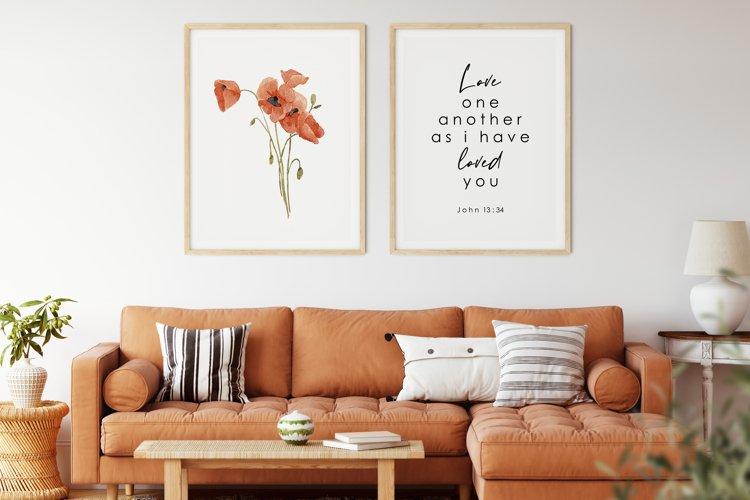 Watercolor Poppy Wall Art, Poppy Wall Print, Bible verse example image 1