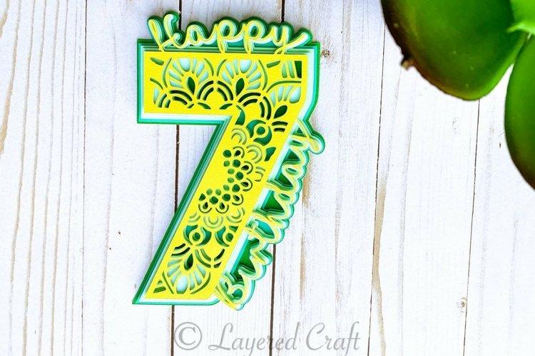 3D 7th Birthday mandala cake topper,Layered Seventh Birthday