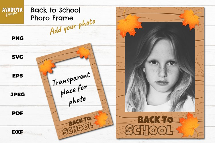 Back to School Photo Frame SVG, Autumn picture frame, Print example image 1
