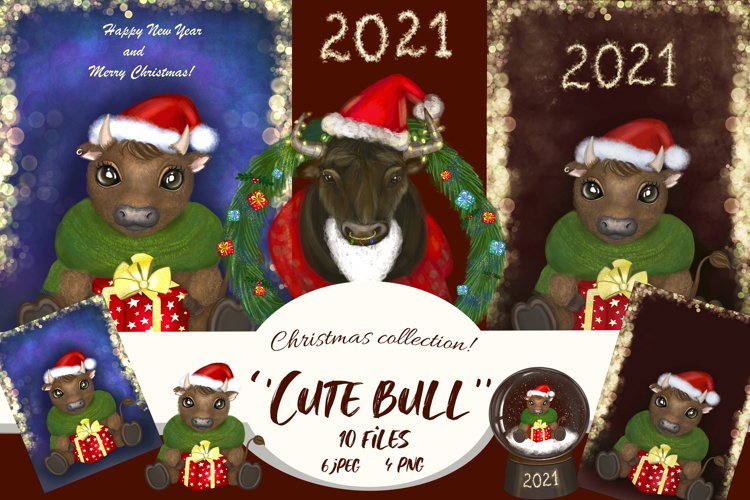 Cute bull in santa hat.Watercolor Christmas collections. example image 1