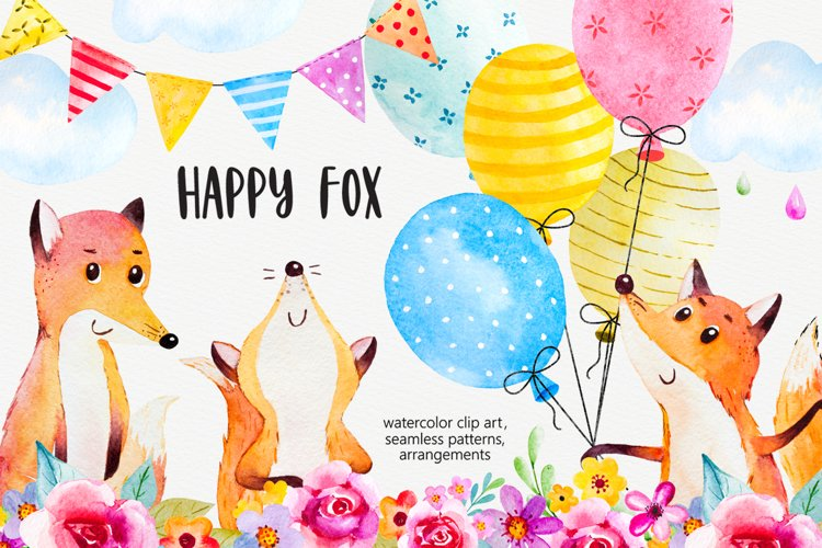 Happy fox watercolor clip art example image 1
