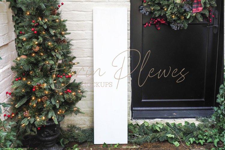 White Vertical Sign Mock Up   Christmas Porch Sign Mockup