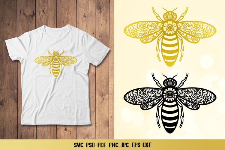 Bee SVG,Floral Bee SVG,Honey Bee Template,Bee Paper Cut SVG