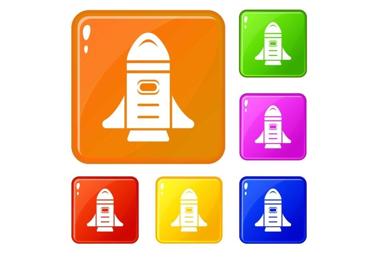 Rocket speed icons set vector color example image 1