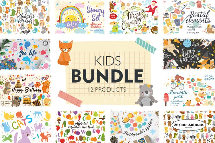 Kids bundle/ Cute baby animals example image 1