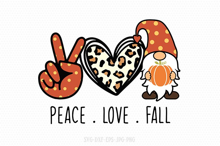 peace love fall svg, Fall gnomes svg, gnomes svg example image 1