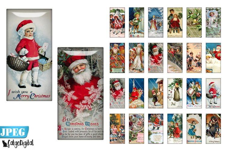 Vintage Christmas Rectangle Domino digital images example image 1