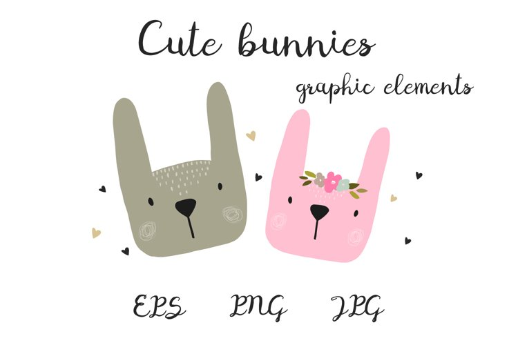Cute bunnies, animals in cartoon style. example image 1