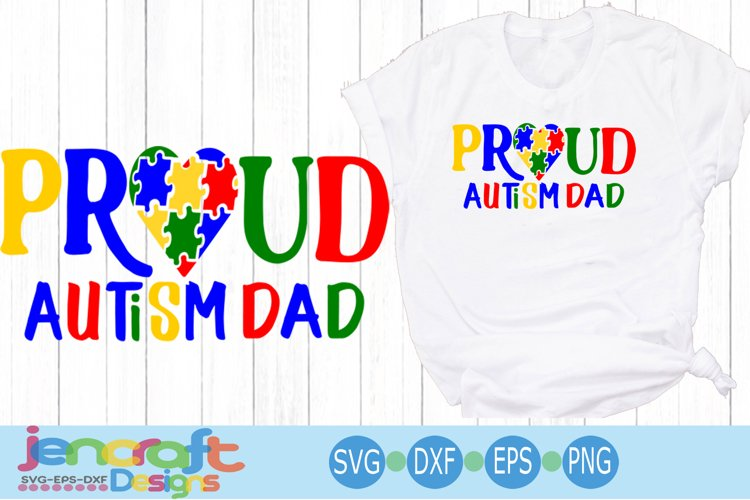 Proud Autism Dad Awareness Puzzle SVG