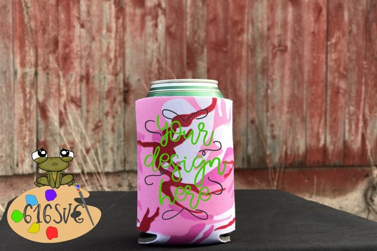 Pink Camo Pink Camouflage Can Cooler Mockup example image 1