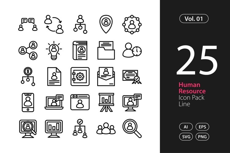 Human Resource Icon Line SVG, EPS, PNG
