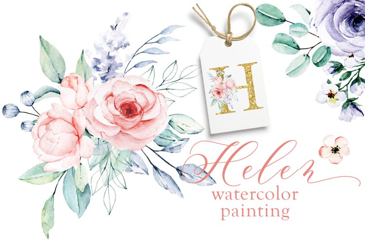 Watercolor flower set Helen. Hand painting.