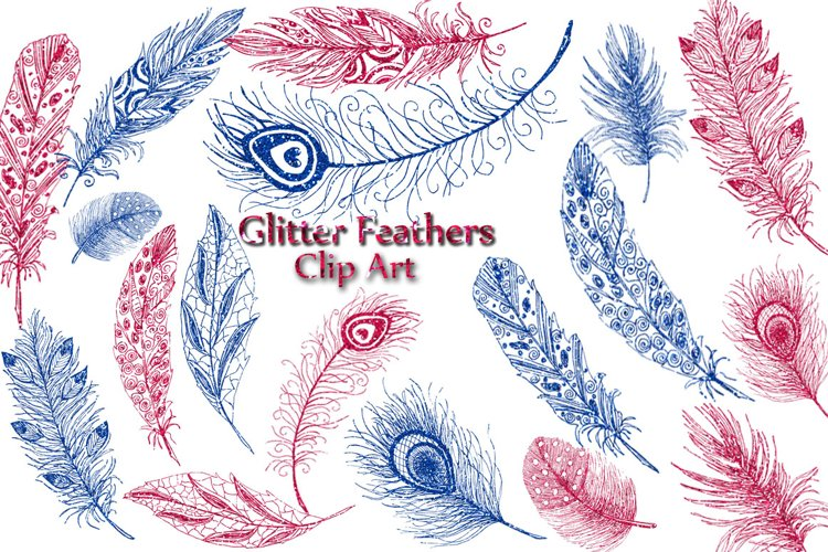 Glitter Feather clipart: example image 1