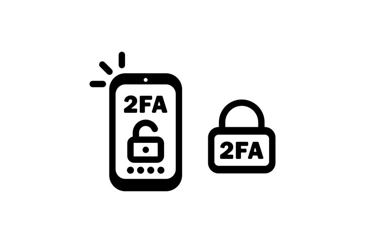 2FA line icon in black. Two factor authentication icon. example image 1