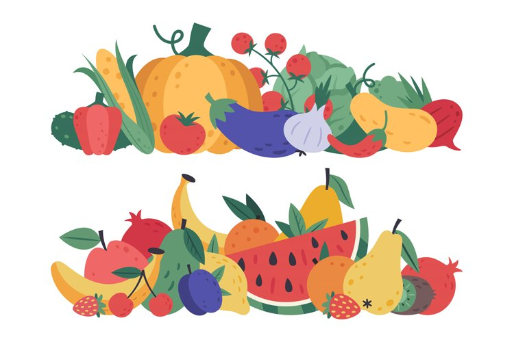 Fruits and vegetables. Doodle food, stack of vegetables example image 1