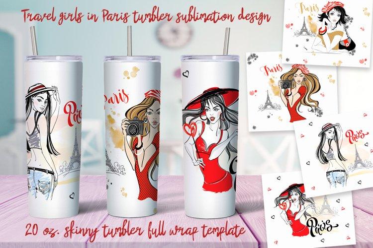 Travel girls in Paris tumbler sublimation design Png example image 1