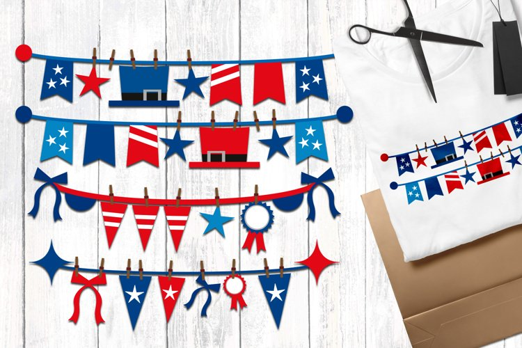 Independence day pennant banners illustrations