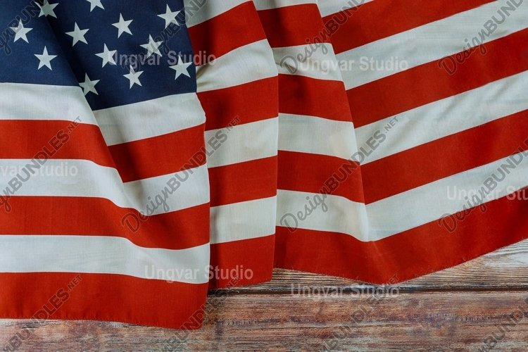 USA national holidays American flag wooden background