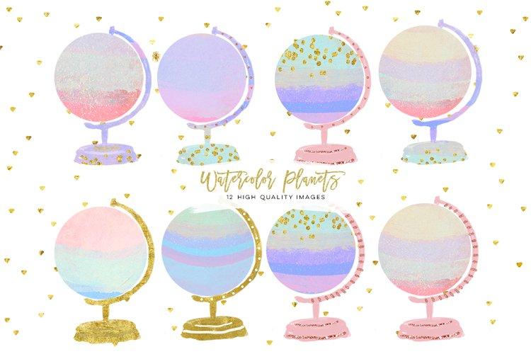 Watercolor Globe Clipart, Globe Clipart, Travel Clipart, Watercolor Planet, Rose Gold ClipArt, Earth Globe, Watercolor Earth, world clipart example image 1
