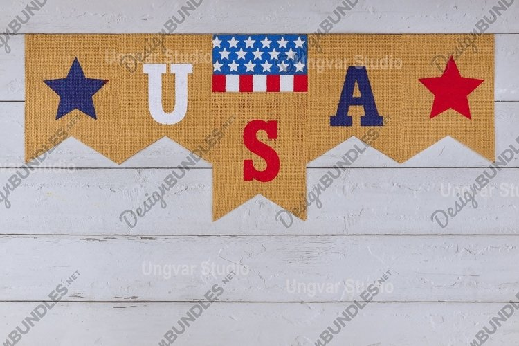 Decorated letter USA sign with patriotism federal holiday example image 1