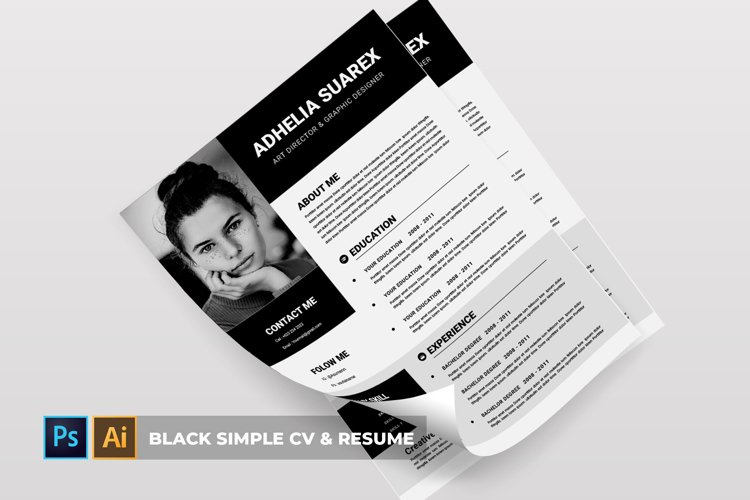 Black Simple | CV & Resume example image 1