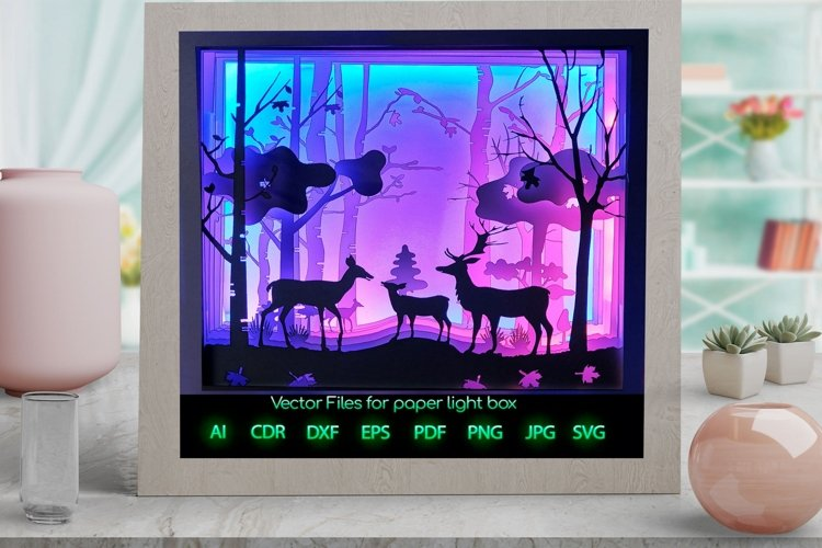 deer family Light box PNG SVG DXF CDR template Paper example image 1