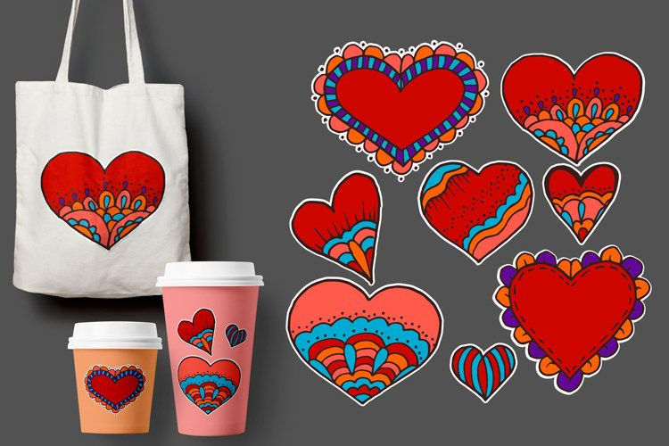 Sketch, stickers, pins. Heart. St. Valentine's Day example image 1