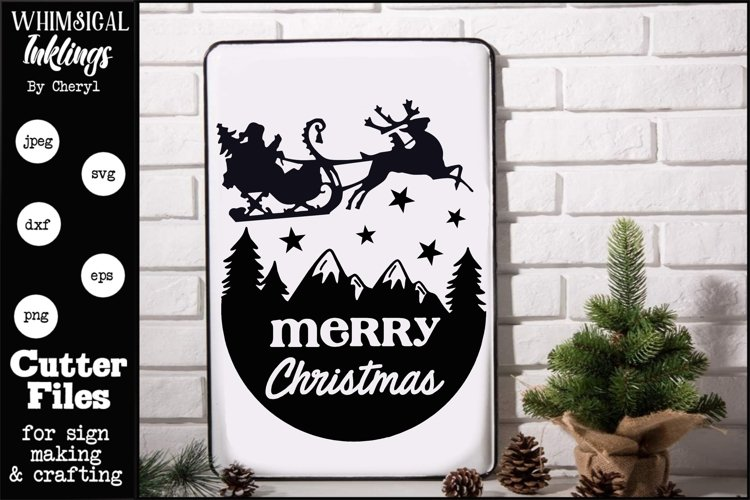 Merry Christmas Sleigh SVG example image 1