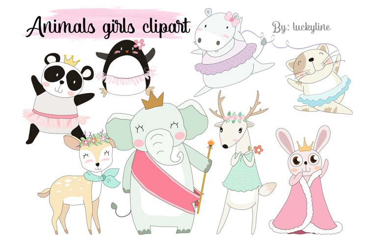 Animals girl clipart Instant Download PNG file - 300 dpi example image 1