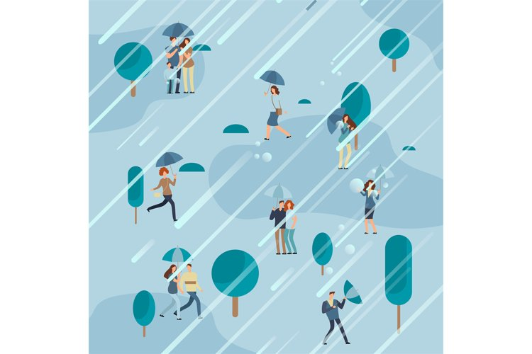 Rainy day in park with people umbrellas example image 1