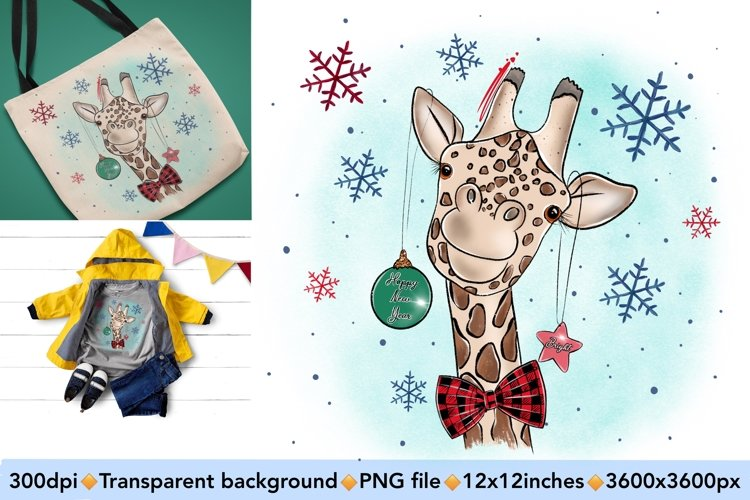 Cute Giraffe Sublimation Design PNG, New Year Bundle example image 1