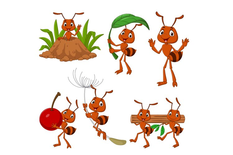 Set of Six Cartoon Brown Ant Animal example image 1